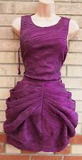 ASOS BLACK PURPLE WRINKLE RUCHED PARACHUTE PUFFBALL A LINE PARTY PROM DRESS 10 S