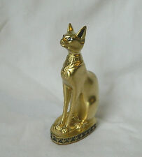 "1 Egyptian Bastet Cat Goddess Resin Stone Statue Gold Black Base 4.25"" # 157"