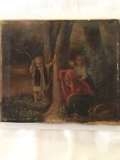 18th CENTURY OIL PAINTING OF CHILDREN PLAYING IN THE WOODS