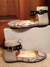 NEW-JESSICA SIMPSON MUNNEY GRAY/SNAKE SPIKE ANKLE STRAP BALLET FLATS -7 Cute!!!!