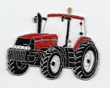 Iron On/ Sew On Embroidered Patch Badge Tractor Farm Farmer Red