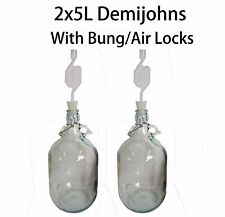 2 X 5L Demijohns Glass Jar with Silicon Bung/Airlocks for Cider/Ginger beer make