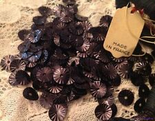 Couture VINTAGE FRENCH SEQUINS Plum PURPLE Stars Sunburst Indented Metallic lot