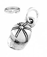 STERLING SILVER BASEBALL SOFTBALL HAT CHARM WITH ONE SPLIT RING