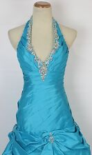 Paparazzi by Mori Lee Capri Blue $500 Size 2 Halter Ball Long Gown Prom Formal