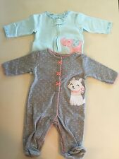 Carters Baby Girl 3 Months One Piece Footies Sleeper Outfit Lot 2 Elephant Dog