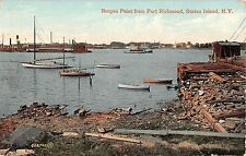 1912 Boats Harbor Bergen Point from Port Richmond NY post card Staten Island