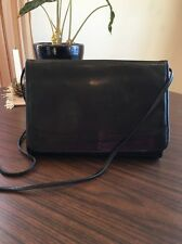 Vintage Black Leather Amanda Smith Cross Body Shoulder Bag Purse EUC