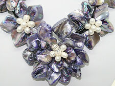 Purple baroque mop shell white pearl seven flowers Necklace AAA+