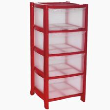 4 Drawer Red Plastic Large Tower Storage Drawers Chest Unit with Wheels