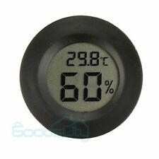 New Digital Cigar Humidor Hygrometer Thermometer Temperature Round Black Face