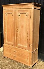 Lovely Victorian Stripped Pine Wardrobe With Drawers Below / Linen Cupboard