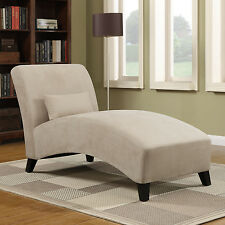 Chaise Lounge Chair Accent Pillow Khaki Microfiber Modern Cushion Sofa Table