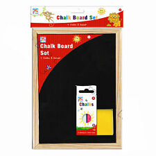 CHILDRENS A4 CHALK BOARD SET MESSAGE WOODEN HANGING 4 CHALK & DUSTER BLACK