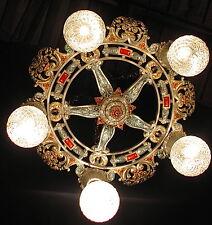 ANTIQUE DECO RIDDLE VICTORIAN CAST METAL CHANDELIER CEILING LIGHT FIXTURE 20'S
