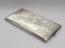 WONDERFUL LARGE VINTAGE CHINESE EXPORT SOLID SILVER CIGARETTE CASE c1925