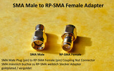 SMA MALE Plug (pin) to RP-SMA Female (pin) Jack / Coupling Nut Adapter
