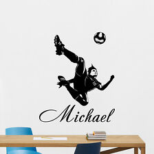 Personalized Soccer Wall Decal Custom Name Vinyl Sticker Football Mural 156nnn