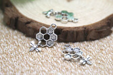 30pcs- Bee and Honeycomb Charms , silver Bee and Honeycomb pendants 13 x 20 mm