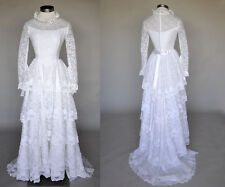 Vintage VTG 50s 1950s White Lace Long Wedding Gown Dress Ruffles Long Sleeves