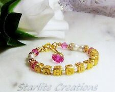 Personalised Vermeil Gold & GP Girls Christening Baptism Birthday Name Bracelet