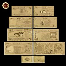 WR Iraq Dinar Gold Banknote Set 8 PCS 25-25000 Novelty Gold Foil Note Free COA