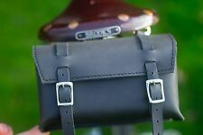 Leather Bag Bicycle Saddle Handlebar Vintage Black UK AND WORLDWIDE SHIPPING