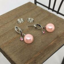 High Quality Pink Crystal Titanium Stud Earrings US Seller Made in Korea