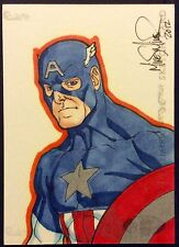 CAPTAIN AMERICA 2012 UD MARVEL PREMIER 3 Panel Sketch Card By MIKE MILLER