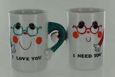 Vintage Papel Mug People - I Love You I Need You - Interlocking Mug Couple -1976