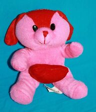 Kellytoy DOG Pink Red Heart Plush Stuffed Puppy Valentines Day Soft Toy Love 6""
