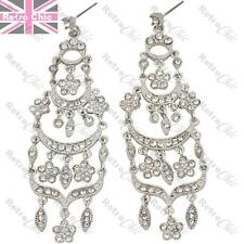 BIG CRYSTAL TIERED CHANDELIER EARRINGS vintage flower GLASS RHINESTONE silver pl
