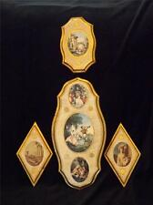 4 Florentine Gilt Tole Wood Wall Plaques Italy