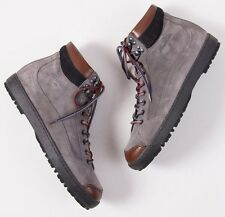 NIB $845 SANTONI Medium Gray Suede Leather Hiking Ankle Boots 8 D Shoes