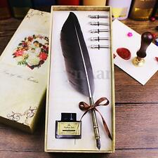 Vintage Quill Black Feather Dip Pen Writing Ink Stationery Set Xmas Gift Box