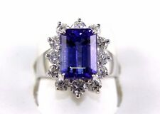 Fine Emerald Cut Tanzanite Cocktail Ring w/Diamond Halo 14k White Gold 6.06Ct