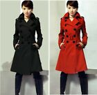 Womens Wool Blend Military Trench Coats Belted Double-Breasted Ladies Jacket NEW