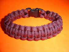 550 ParaCord Survival Cobra Braided Bracelet - Burgundy - Fits up to 7 1/2""