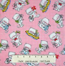 Cat Fabric - Miss Kitty's Colors Toss on Pink & White - Henry Glass YARD
