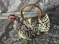 FITZ AND FLOYD HEN WITH CHICKS POULET RETIRED 1990 WITH BAMBOO HANDLE TEAPO