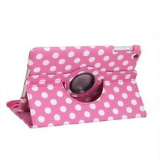 Hot Pink 360 Degree Rotating Polka Dot Leather Case Cover for Apple iPad Mini