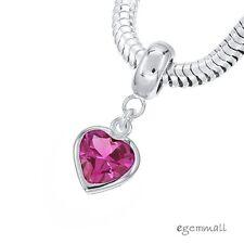 Sterling Silver w/ Ruby Pink CZ Heart Charm Stopper Fit European Bracelet #94260