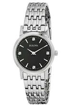 Bulova 96P148 Womens 4 Diamonds Black Mother of Pearl Dial Bracelet Watch
