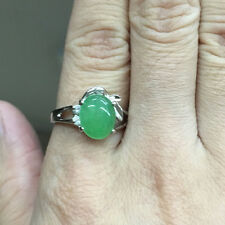 Oval Green Jade Platinum Plated Crystal CZ Engagement Ring Women Jewelry Size 8