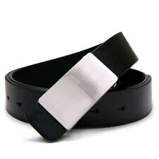 Mens Adjustable Faux Leather Alloy Buckle Belt Black AD