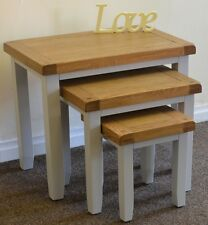 Dorset French Grey Painted Oak & Pine Nest of 3 Tables