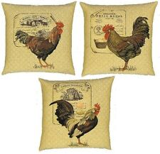 "SET OF 3 THREE 18"" ROOSTER TAPESTRY CUSHION COVERS WITH ZIP 4891/4892/4893"