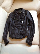 $500 NWT Muubaa Monteria Leather Biker Jacket Dark chocolate US 2 UK 6 EU 34 XS
