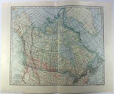 Original 1913 Dated Map of The Dominion of Canada & Newfoundland by L. L. Poates