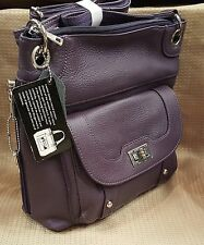 Leather Handbag Locking Conceal Carry Holster Gun Purse Cross body PURPLE. New